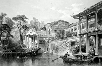 ANTIQUE PRINT: [GUANGZHOU] HOUSE OF CONSEEQUA, A CHINESE MERCHANT, IN THE SUBURBS OF CANTON. FROM A DRAWING IN THE POSSESSION OF SIR GEO. STAUNTON, BART.