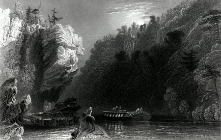 ANTIQUE PRINT: VIEW ON THE ERIE CANAL, NEAR LITTLE FALLS.