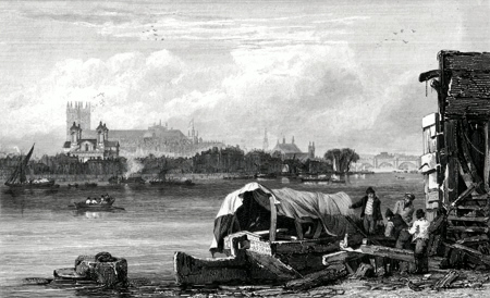 ANTIQUE PRINT: WESTMINSTER. FROM VAUXHALL.