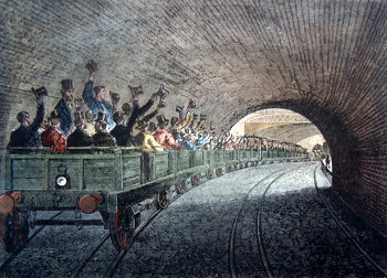 ANTIQUE PRINT: TRIAL TRIP ON THE UNDERGROUND RAILWAY, 1863.