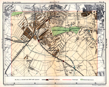 ANTIQUE MAP: STREET PLAN OF LONDON. STREATHAM, NORWOOD, &C.