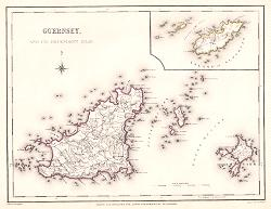 ANTIQUE MAP: GUERNSEY, AND ITS DEPENDENT ISLES.