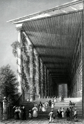 ANTIQUE PRINT: COLONNADE OF CONGRESS-HALL. (SARATOGA SPRINGS.)