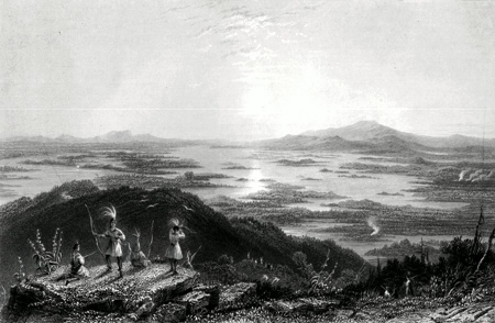 ANTIQUE PRINT: LAKE WINNIPISSEOGEE, FROM RED HILL.