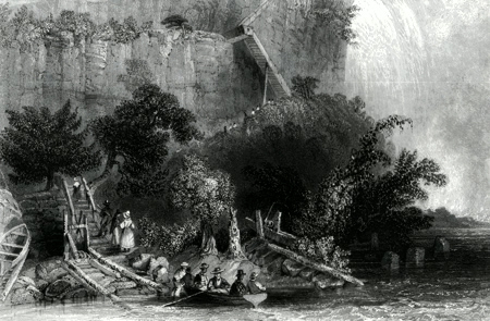 ANTIQUE PRINT: THE LANDING ON THE AMERICAN SIDE. (FALLS OF NIAGARA.)