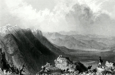 ANTIQUE PRINT: VIEW FROM MOUNT WASHINGTON.