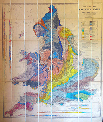 ANTIQUE MAP: GEOLOGICAL MAP OF ENGLAND & WALES.