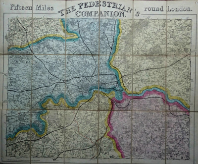 ANTIQUE MAP: THE PEDESTRIAN'S COMPANION. FIFTEEN MILES ROUND LONDON.