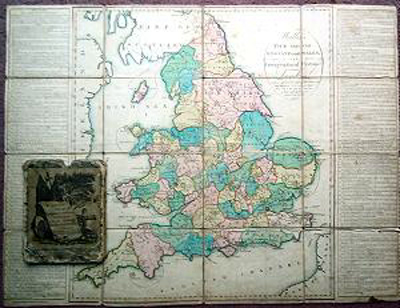 ANTIQUE MAP: WALLIS'S TOUR THROUGH ENGLAND AND WALES, A NEW GEOGRAPHICAL PASTIME.