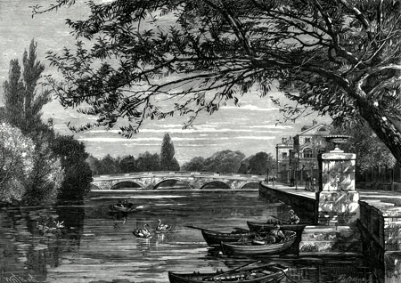ANTIQUE PRINT: BRIDGE OVER THE OUSE, BEDFORD.