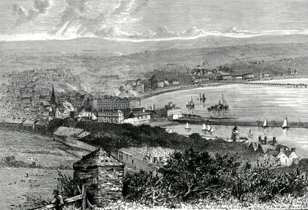 ANTIQUE PRINT: GENERAL VIEW OF DOUGLAS.