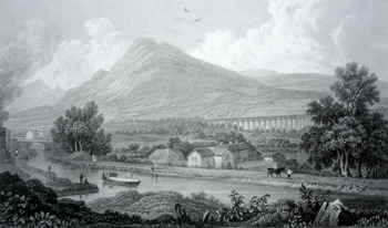 ANTIQUE PRINT: PONT Y CYSSYLLTE, IN THE VALE OF LLANGOLLEN, DENBIGHSHIRE.