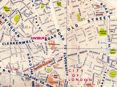 ANTIQUE MAP: FOLDEX MAP OF LONDON.