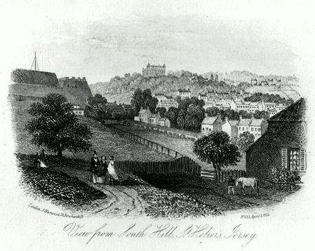 ANTIQUE PRINT: VIEW FROM SOUTH HILL, ST. HELIER'S, JERSEY.