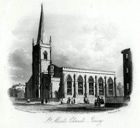 ANTIQUE PRINT: ST. MARK'S CHURCH, JERSEY [ST. HELIER].