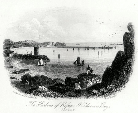 ANTIQUE PRINT: THE HARBOUR OF REFUGE, ST. CATHERINE'S BAY. JERSEY.