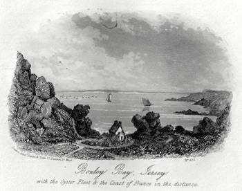 ANTIQUE PRINT: BOULEY BAY, JERSEY. WITH THE OYSTER FLEET & THE COAST OF FRANCE IN THE DISTANCE.