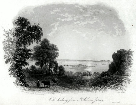 ANTIQUE PRINT: VIEW LOOKING FROM ST. AUBIN'S, JERSEY.