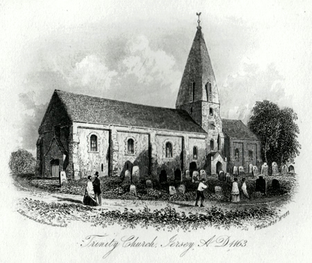 ANTIQUE PRINT: TRINITY CHURCH, JERSEY, A.D. 1163.
