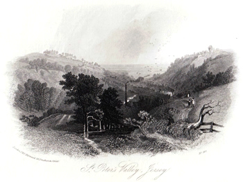 ANTIQUE PRINT: ST. PETER'S VALLEY, JERSEY.
