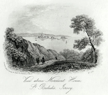 ANTIQUE PRINT: VIEW ABOVE NOIRMONT HOUSE, ST. BRELADE'S, JERSEY.