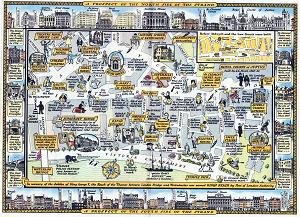 ANTIQUE MAP: A GREAT NEW SURVEY OF LONDON 1946 : PART THE FIRST : THE MAP OF THE STRAND FROM WELLINGTON STREET TO TEMPLE BAR ...
