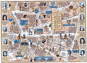 ANTIQUE MAP: A MAP SHOWING THE ROYAL EXCHANGE AND THE STREETS IN ITS NEIGHBOURHOOD ...