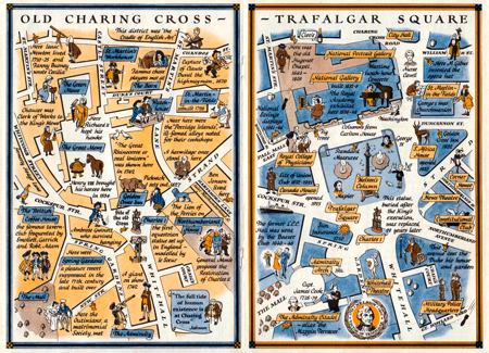 ANTIQUE MAP: TWO MAPS OF CHARING CROSS SO DISPLAYED THAT THE CHANGES CAUSED BY THE CONSTRUCTION OF TRAFALGAR SQUARE MAY BE CONVENIENTLY STUDIED.