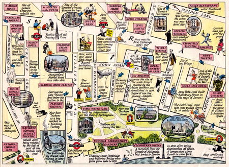 ANTIQUE MAP: A MAP OF THE STRAND FROM TRAFALGAR SQUARE TO ALDWYCH ...