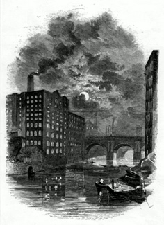 ANTIQUE PRINT: THE IRWELL – FACTORIES AT NIGHT.