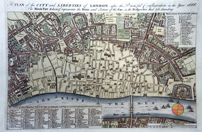 [BOWEN, Emanuel, fl.1714-1767] : A PLAN OF THE CITY AND LIBERTIES OF LONDON AFTER THE DREADFUL CONFLAGRATION IN THE YEAR 1666. THE BLANK PART WHEREOF REPRESENTS THE RUINS AND EXTENT OF THE FIRE; & THE PERSPECTIVE THAT LEFT STANDING.