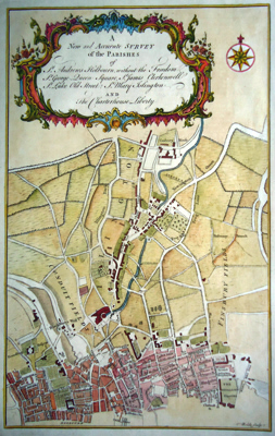 COLE, Benjamin, 1697?-1783 : A NEW AND ACCURATE SURVEY OF THE PARISHES OF ST. ANDREWS HOLBOURN, WITHOUT THE FREEDOM, ST. GEORGE QUEEN SQUARE, ST. JAMES CLERKENWELL, ST. LUKE OLD STREET, ST. MARY ISLINGTON AND THE CHARTERHOUSE LIBERTY.