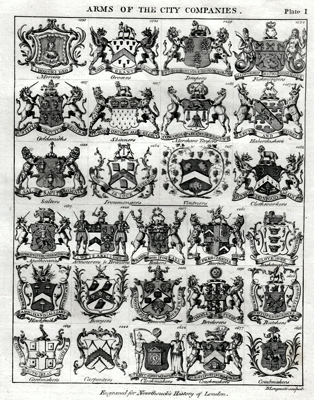 ANTIQUE PRINT: ARMS OF THE CITY COMPANIES.
