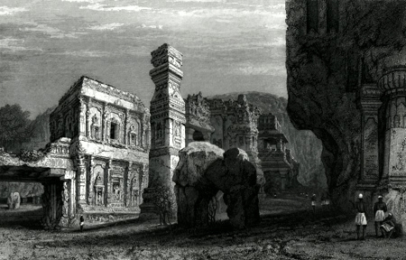 ANTIQUE PRINT: EXCAVATED TEMPLE OF KYLAS [KAILASH], – CAVES OF ELLORA.