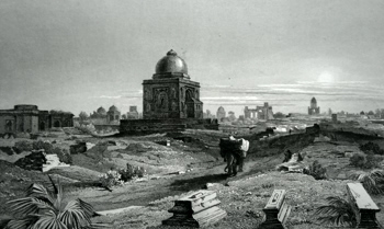 ANTIQUE PRINT: RUINS SOUTH SIDE OF OLD DELHI.