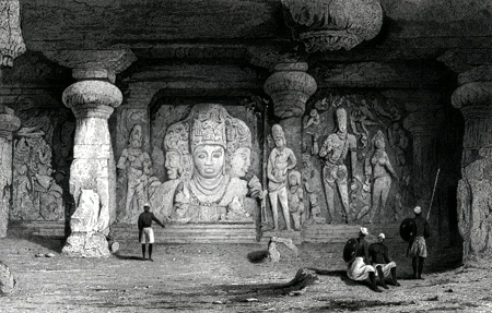 ANTIQUE PRINT: TRIAD FIGURE, INTERIOR OF ELEPHANTA.