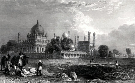 ANTIQUE PRINT: TOMB OF IBRAHIM PADSHAH, – BEJAPORE [BIJAPUR].