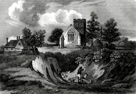 ANTIQUE PRINT: ELMSET CHURCH, SUFFOLK [ELMSETT].