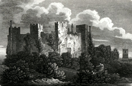ANTIQUE PRINT: FRAMLINGTON [FRAMLINGHAM] CASTLE, SUFFOLK.