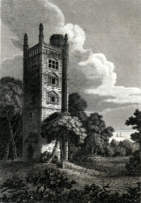 ANTIQUE PRINT: FRESTON TOWER, NEAR IPSWICH, SUFFOLK.