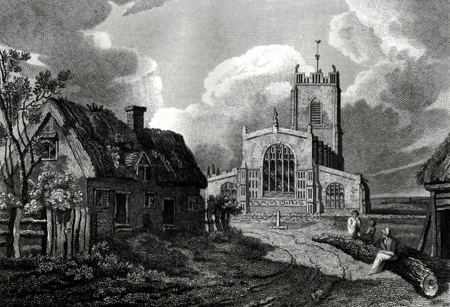 ANTIQUE PRINT: BLYTHBURGH CHURCH, SUFFOLK.