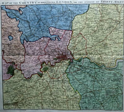 ANTIQUE MAP: MAP OF THE COUNTRY SURROUNDING LONDON, TO THE EXTENT OF THIRTY MILES.