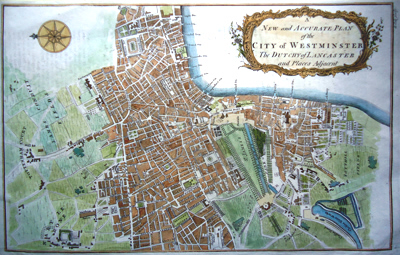 ANTIQUE MAP: A NEW AND ACCURATE PLAN OF THE CITY OF WESTMINSTER THE DUTCHY OF LANCASTER AND PLACES ADJACENT.