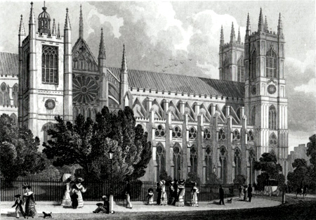 Antique print of Westminster Abbey