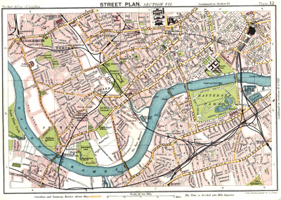 ANTIQUE MAP: STREET PLAN. SECTION VII [FULHAM, CHELSEA, BATTERSEA, ETC].