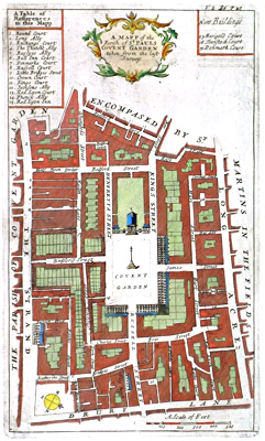 ANTIQUE MAP: A MAPP OF THE PARISH OF ST. PAULS COVENT GARDEN TAKEN FROM THE LAST SURVEY.