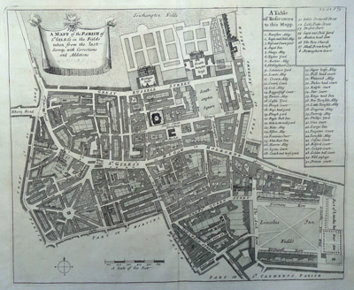 ANTIQUE MAP: A MAPP OF THE PARISH OF ST GILES'S IN THE FIELDS TAKEN FROM THE LAST SERVEY, WITH CORRECTIONS AND ADDITIONS.