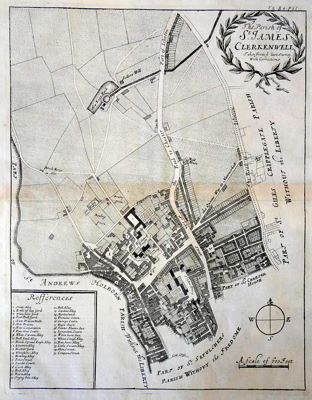 ANTIQUE MAP: THE PARISH OF ST. JAMES CLERKENWELL TAKEN FROM YE LAST SURVEY WITH CORRECTIONS.
