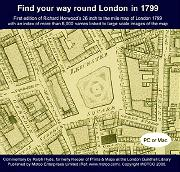 ANTIQUE MAP : [SCREEN TITLE] RICHARD HORWOOD'S MAP OF LONDON, WESTMINSTER & SOUTHWARK :
